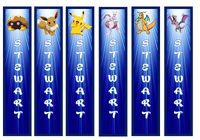 Pokemon Personalised Childrens Bookmarks Laminated X 6 Party/teachers/parents/bo