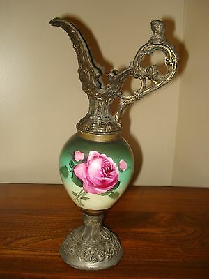 Victorian Footed Urn/Ewer Featuring Hand Painted Pink Rose