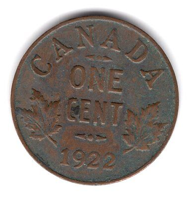 1922 Canada Copper One Cent Penny Coin A125
