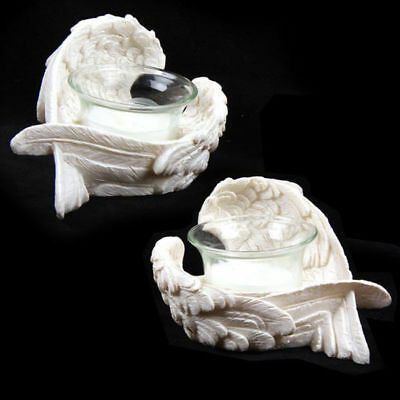 New Pair Of White Angel Wing Votive Tea Light Candle Holder Ang98 A+B