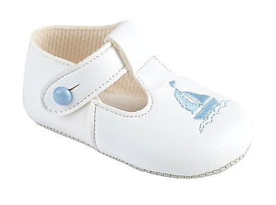 Baby Boys Traditional Romany White Pram Shoes Nautical Boat Design by Baypods