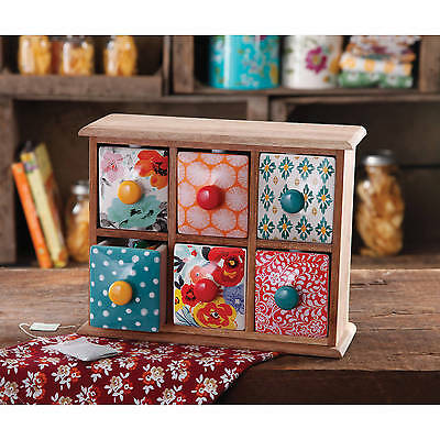 The Pioneer Woman 6-Drawer Spice/Tea Box Ceramic New