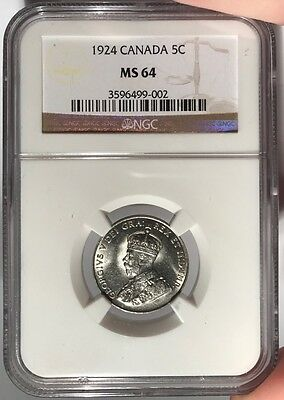 1924 Canada 5c NGC MS 64 Canadian Five Cents