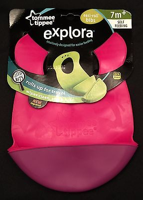 Set of  2 Tommee Tippee Purple and Pink Explora Bibs BPA Free 7M+ Easi-roll NEW