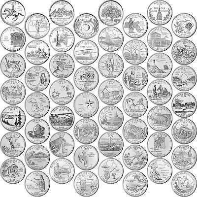 COMPLETE US 56 STATES QUARTER DOLLAR P or D MINTS COINS YEAR SETS 1999-2009