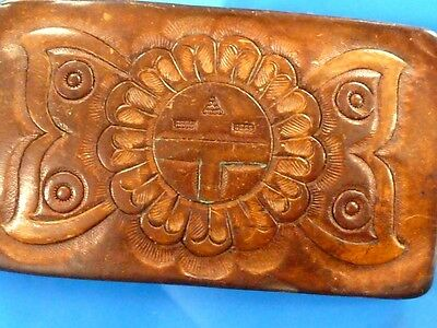 Native American hand tooled leather Belt Buckle complete , no damage.