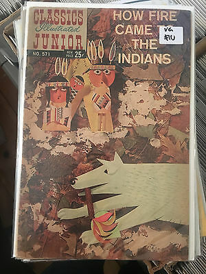 CLASSICS ILLUSTRATED JUNIOR #571 VG 1st Print How Fire Came To The Indians comic