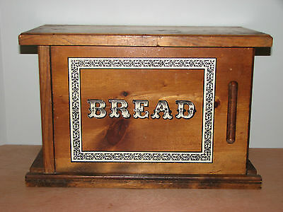 Vintage Knock On Wood Corp Wooden Knotty Bread Box Sliding Door Antique Country