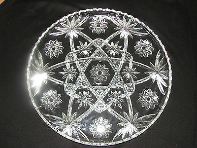 Stunning! Anchor Hocking Eapc Early American Prescut Glass Cake Platter 13.5""