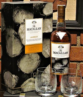 1x The Set MACALLAN AMBER ♦ LTED. EDITION ♦ 70cl ♦ Box + 2 Tumbler Glasses