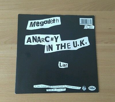 """Megadeth Anarchy In The UK 1988 7"""" Pic Sleeve CL480 Speed Metal Punk Sex Pistols"""