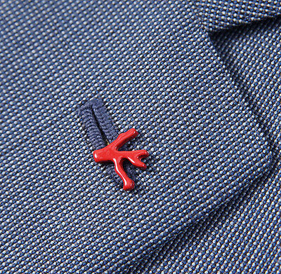 New ISAIA NAPOLI Signature Red Enamel Coral Lapel Pin for Suit and Blazer