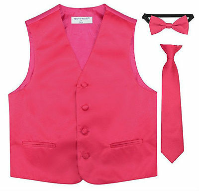 Boys Dress Satin Vest + Bow Tie+ Tie Formal Wear Special Occasion  Colors