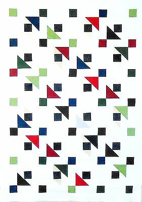 """Unfinished Modern Quilt Top White + Jewel Tones 36"""" x 51"""" by Patchmaker"""