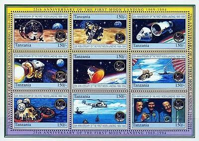 TANZANIA 1994 APOLLO 11 (large) M/S of 9   SC#1249 CV$10.00 HELICOPTER