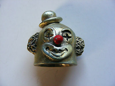 NEW! 1980 Spoontiques BoBo The Clown head pewter thimble mint condition