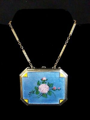 Antique Silver & Guilloche Blue Floral Enamel Compact Greek Shield and Writing