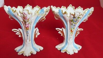 "Pair of Antique OLD PARIS Porcelain Fan Spill Vases  Flowers 5 3/4"" *For Repair*"
