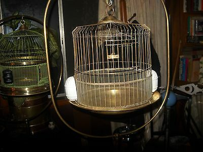 vintage antique leon brass bird cage and leon brass hoop and cast stand