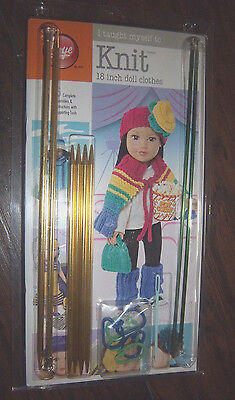 "Boye 'I taught myself to Knit' 18"" doll clothes kit with size 3 & 8 needles"
