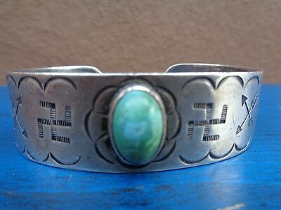 Early Fred Harvey Ingot Silver Bracelet Whirling Logs Dated to 1912