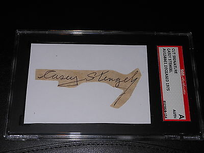 NY Mets Yankees Casey Stengel (d.75) Signed Mounted Cut Autograph SGC Slabbed