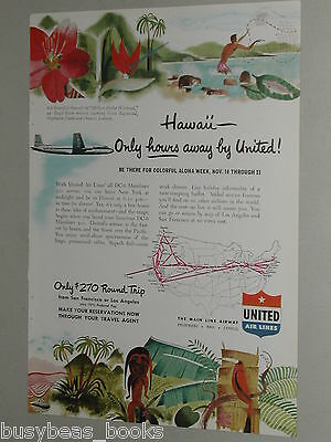 1948 United Air Lines advertisement, Hawaii, Douglas DC-6