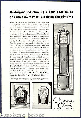 1930 Revere Clocks advertisement, TELECHRON electric clocks mantle & grandfather