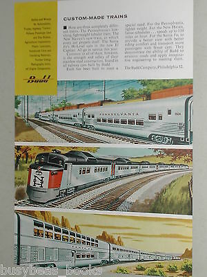 1956 Budd Co. advertisement, streamlined railroad cars, RDC, NH, PRR, Sant Fe