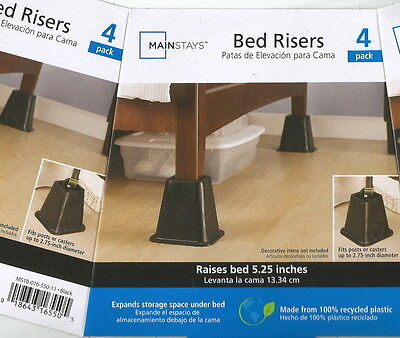 "4 x Risers 5.25"" Lift Furniture Beds Closet Bench Underbed Storage"