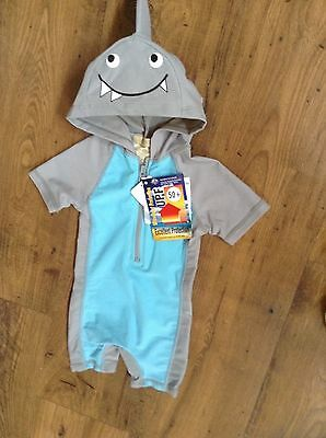 SHARK Hooded Baby Boys Bathers Swimsuit Hat BNWT Size 3 or 4