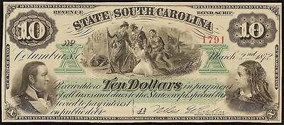 Unc 1872 $10 Bill Columbia South Carolina Note Large Currency Big Paper Money
