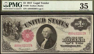 Large 1917 $1 Dollar Bill Big United States Legal Tender Red Seal Note Pmg Ch 35