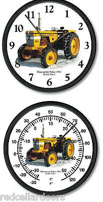 "New MINNEAPOLIS MOLINE Model 304U Tractor Clock and Thermometer Set 10"" Round"
