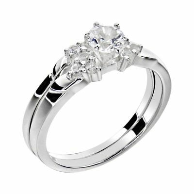 White Gold Sterling Silver 0.9 Ct Round White Sapphire Women's Wedding Ring Set