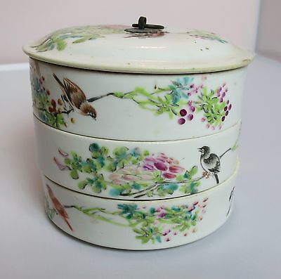 """Antique Chinese Porcelain Stack Lunch Box Hand Painted Birds Flowers Poetry 4"""" T"""
