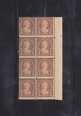 US Stamps - #636 - 4c 1926 Rotary Issue - Right Margin Block of 8 (2x4) - MNH