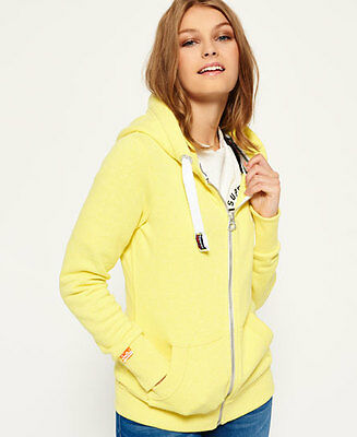 New Womens Superdry Orange Label Primary Zip Hoodie Daisy Yellow Snowy