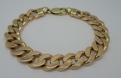 "***heavy Mens Solid 9Ct Gold 8.5"" Long Curb Bracelet- 55 Grams***"