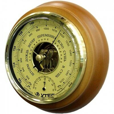 Weather Station Barometer Utes BTK-CN 14 from russia real wood ⌀17,5 cm/ 7 inch