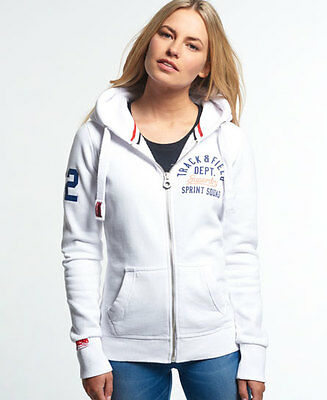 New Womens Superdry Trackster Zip Hoodie Optic White