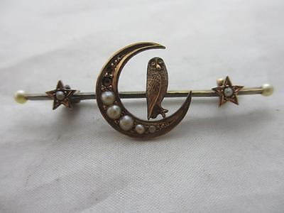 Seed pearl 15 karat gold owl crescent moon brooch pin antique victorian rsw00029