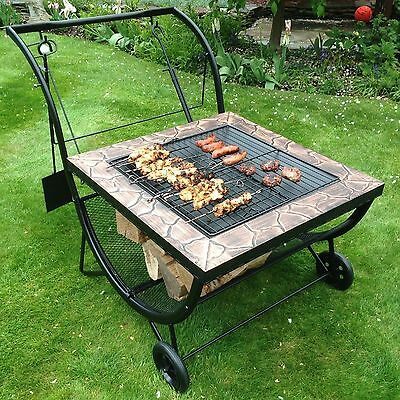 Large Garden BBQ Grill Rack Fire Pit Patio Heater Log Charcoal Brazier Barbecue