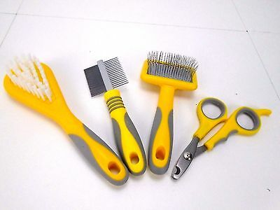 Ancol Small Pets grooming Bristle & Slicker Brush, Double Sided Comb & Clippers