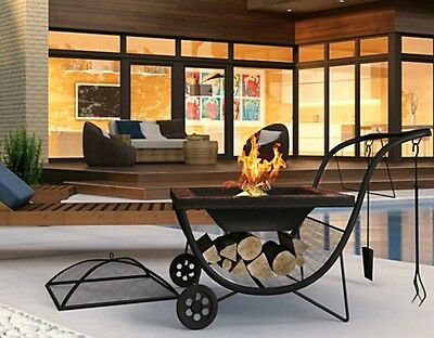 Outdoor Fire Pit Portable Fireplace BBQ Barbecue Bowl Grill Garden Patio Heater