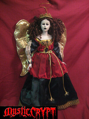 Large Holiday Angel w Gold Wings Horror Doll by Bastet2329 Christie Creepydolls