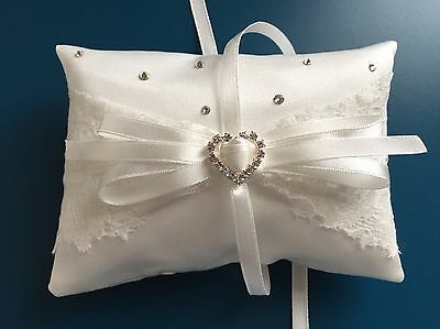 Ivory Wedding Ring Pillow Cushion Holder Bearer French Lace Bow Sparkly Diamanté