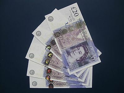 5No. CONSECUTIVE BAILEY (GB/ENGLAND) LL REPLACEMENT £20 BANKNOTES FRESH GEF