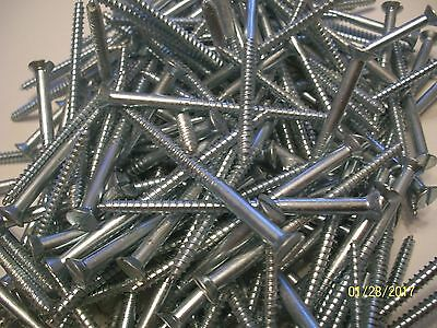"40 - Vintage, Big 3"" X #10, Slotted Flat Head Steel Wood Screws, Zinc Chromate-2"