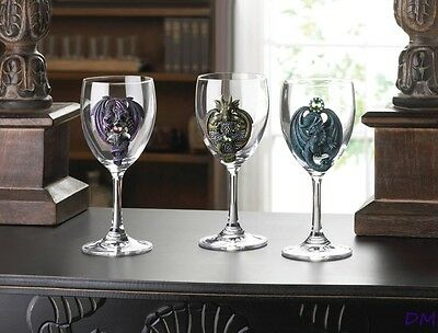 Set of 3 Clear Glass Wine Goblets with Blue, Purple, Green Dragon Emblems